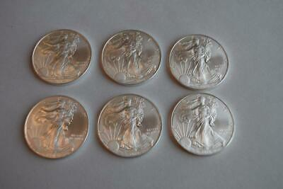Six (6) 2012 American Silver Eagle BU 1 oz Coin $1 U.S. Mint Uncirculated