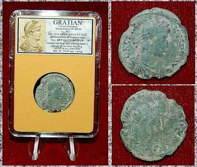 Ancient Roman Empire Coin Of GRATIAN Emperor Helping Female To Raise