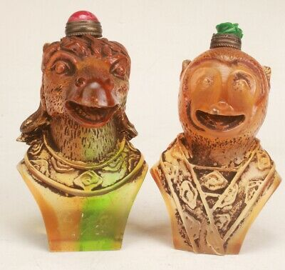 Chinese Coloured Glaze Hand Carved Horse Monkey Statue Snuff Bottle