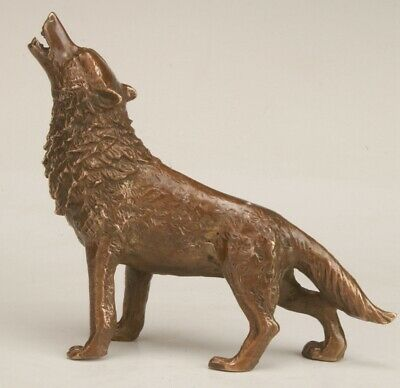 Chinese Bronze Handmade Carving Wolf Statue Collection Decoration