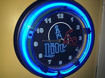 Miller Lite Houston Oilers Football Beer Bar Man Cave Blue Neon Wall Clock Sign