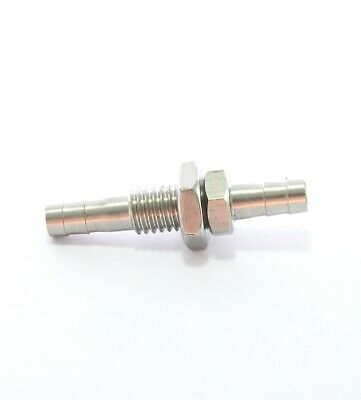 "Stainless Steel Bulkhead 1/4"" Hose ID Barb Fitting Fuel Water Boat Air Splicer"
