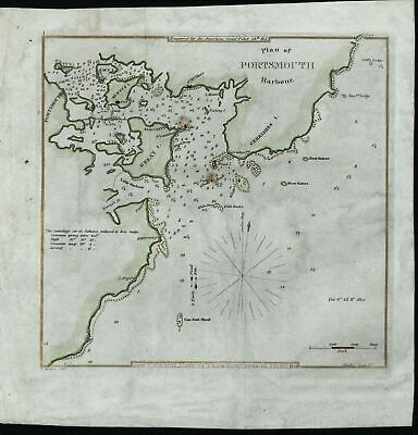 Portsmouth Harbor New Hampshire 1841 Blunt beautiful antique hand color map
