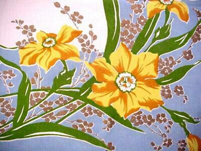 Vintage SPRING DAFFODILS Cottage Garden LG Tablecloth Colorful Floral GORGEOUS!