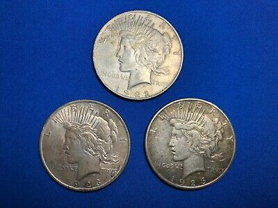 Lot Of 3, 1922, 1923,1926 PEACE LIBERTY SILVER DOLLAR COINs Great Cond NO RES