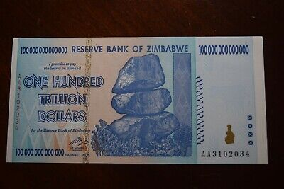 Zimbabwe 2008 100 Trillion Dollars AA, Pick-91, UNC Authentic & UV Test Passed