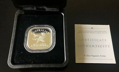 2003 50c Fifty Cent Silver Proof Square Silver Coin- The Australian Kookaburra