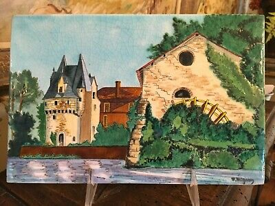Lovely French Hand Painted Tile by Longwy France Signed Castle Scene