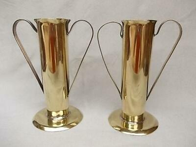 72 / Beautiful Pair Of Antique Hand Made Arts & Crafts Brass Vases
