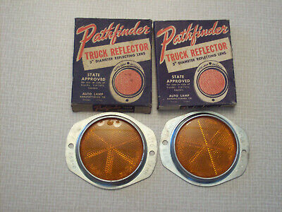 "NOS Pathfinder 3"" amber truck reflectors, Auto Lamp Co. SAE-A 6888-0"