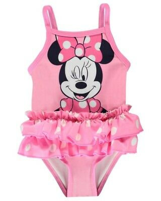 Disney Baby Girl Pink Polka Dots Frilly Minnie Mouse Swimsuit Swimming Costume