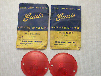 NOS Guide R-T8C tail light lenses and chrome bezel, 1956-57 Chevy pickup
