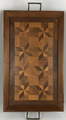 "VINTAGE Serving Tray Wood MARQUETRY HANDMADE Inlaid BARWARE  21""x12"""