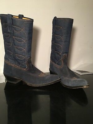 1736e2ba49b 10 D VINTAGE ACME WESTERN DENIM COWBOY BOOTS blue suede orange stitch euc