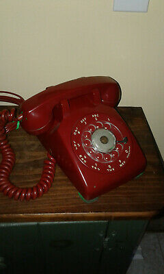 1957 Western Electric 500 Rotary Desk Phone Red Soft Plastic
