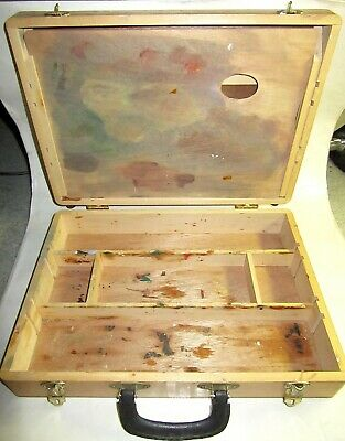 Vintage Artist/Painter's Wooden Storage Box with Dovetailed Corners and Palette