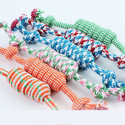 1Pc Puppy Dog Pet Cat Chew Toy Cotton Braided Bone Tug Play Game Rope Knot Toy