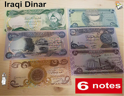 Iraqi Dinar, 10000x1, 5000x1, 1000x1, 500x1, 250x1 & 50x1;  6 Notes - Auction!