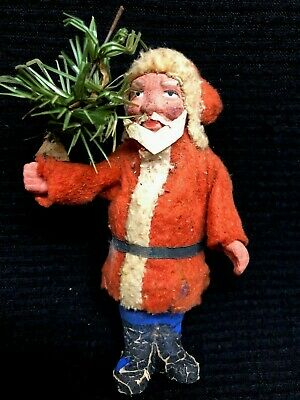 Vintage Christmas Paper Mache  FACE SANTA UNMARKED Figure with Tree  4 1/2''