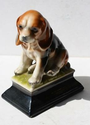 Beagle Dog Figure Statue on a Platform Ceramic Hand Painted Made in Japan-CUTE