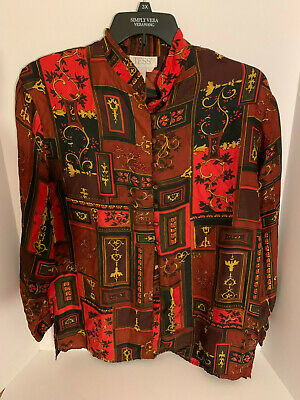 783f4f299dbdcd Tess Women s Silk Long Sleeve Button Front Red Brown Black Blouse Size Large