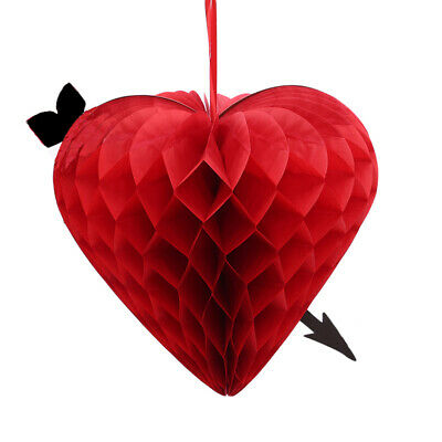 3D Paper Valentines Day Wedding Party Love Heart Lantern Hanging Decor SuppliesL