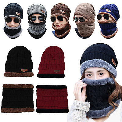d7bd2ec084c Unisex Women Men 2 in 1 Soft Warm Thick Cable Knitted Hat and Scarf Winter  Set