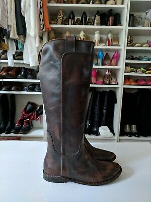c62a1ab83b9 FRYE Womens Paige Brown Tall Leather Riding Boots Knee High Sz 6.5 NEW  378