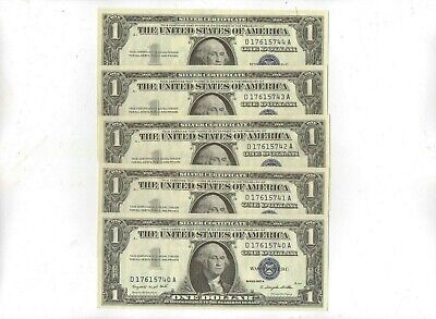 Five Consecutive 1957 One Dollar Silver Certificates Crisp Uncirculated