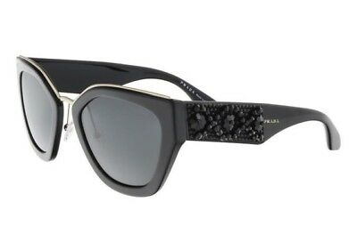 28116a0366 New Women s Prada SPR 10T Black Sunglasses 1AB5S0 860
