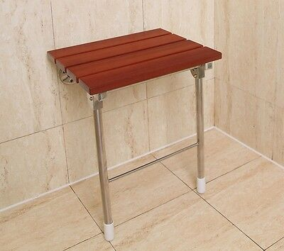 Solid Wood Folding Shower Seat Wall Mounted in White Bathroom Mobility Aid