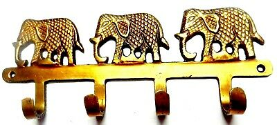 Three Elephant Brass Handcrafted Vintage Antique Style Wall Hanger Hook 11