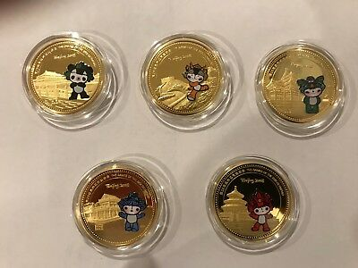 Beijing 2008 Olympic commemorative 5 gold-plated medallion boxed set