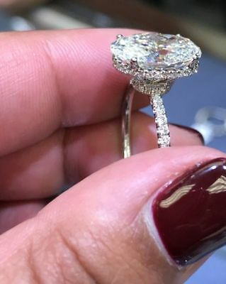 93748a5f1eccf3 2.80CT White Oval Cut Hidden Halo Pave Diamond Engagement 14k White Gold  Ring
