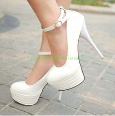 2020 Hot High Heel Platform Ankle Strap Pumps Casual Shoes Stiletto Women Clubs