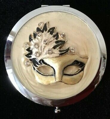 Lovely Vintage Compact SilverTone Masquerade Theme With Rhinestones