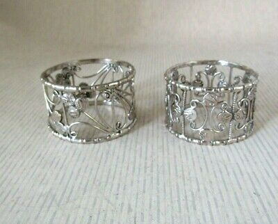 Antique Solid Silver  PAIR OF INDIAN NAPKIN RINGS  with 1/16 rupee coins