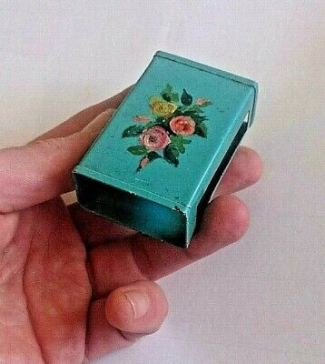 Vintage Metal Matchbox Cover/vespa.Hand painted Floral relief.Good condition.