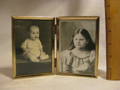 ornate metal hinged folding double vintage picture photograph frame with photo