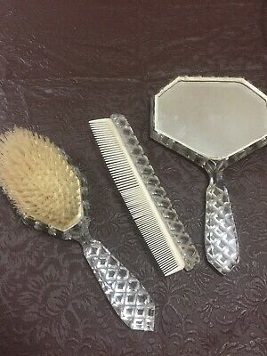 Vintage Glass Brush Mirror And Comb Set