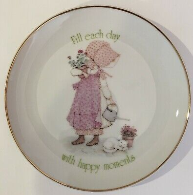 Holly Hobbie Designers Collection Porcelain Dish with Message & Gold Gilt Rim ♡