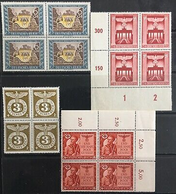 Germany Third Reich 1943 issues in Blocks of 4 MLH