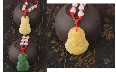 10PCS Chinese Natural Jade Hand Carved Kwan-Yin Buddha Necklace with Rope