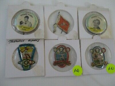1956 Melbourne Olympic Games Badges (6) SCARCE