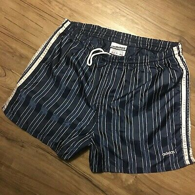 "Vintage ADIDAS Shorts Striped Nylon sz M 3"" Soccer Football 80s/90s MADE IN USA"