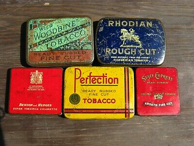 Lot Of Five Assorted Cigarette & Tobacco Tins - Perfection, Rhodian