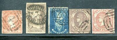 Australia Victoria Queen On Throne Emblems Ets Imperf Rouletted Unsorted Used