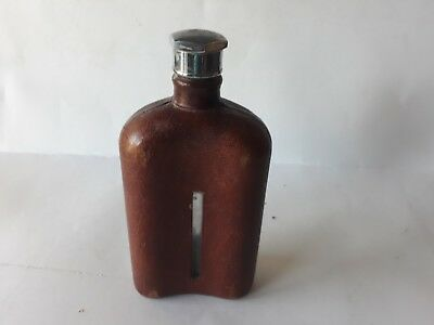 Vintage Lovely Leather bound glass spirit/hip flask 7.5 inches