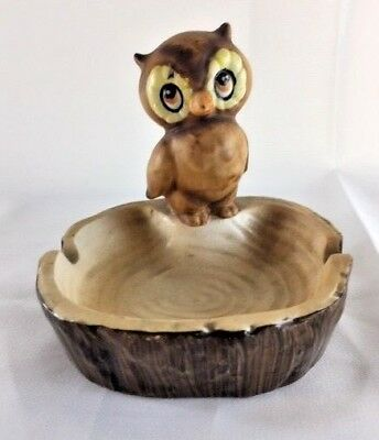 Retro Kitsch Owl Plasterware Ashtray Japan