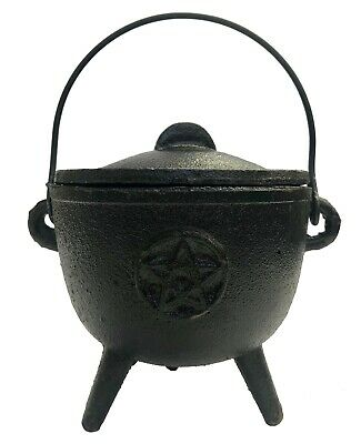 Cast Iron Cauldron + Lid PENTAGRAM Smudging Magic Resin Pot 10.5cm x 17.5 h